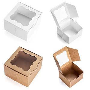 25 Pack Brown Bakery Box with Window 4x4x2.5 inch – Eco-Friendly Paper Board Cardboard Gift Packaging Boxes for Pastries, Cookies, Small Cakes, Pie, Cupcakes, and More – by Golden Coast Unlimited 51hv1LmzHFL