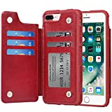 Arae Case for iPhone 7 Plus/iPhone 8 Plus - Wallet Case with PU Leather Card Pockets [Shockproof] Back Flip Cover for iPhone 7 Plus / 8 Plus 5.5 inch (Wine red)