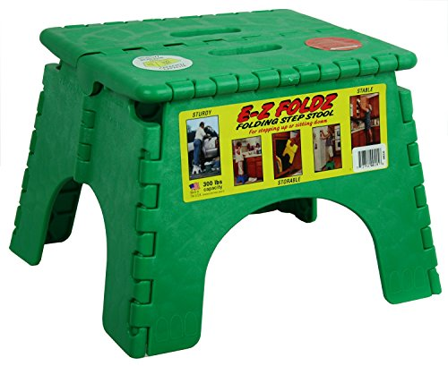 B&R Plastics 101-6G-GREEN E-Z Foldz Step Stool - 9', Green