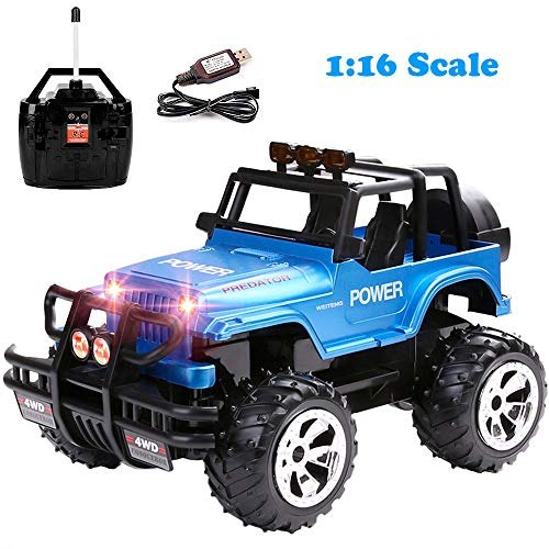 Remote Control Jeep Car 4WD Off Road Rock Crawler Vehicle 2.4 GHz All Terrain Big Foot Jeep R/C Vehicle 1:16 Scale Rechargeable RC Toy Car with Lights & Sounds for Kids Boys Girls