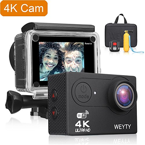 Waterproof Camera, WeyTy 8 NEX 4K Ultra HD Action Camera, 12MP Remote Control Action Video Camera, Wide-Angle Len Sports Camera with Travel Bag and Full Accessories Compatible with GoPro Camera