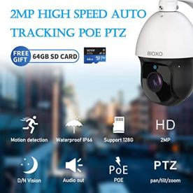 30X-Zoom-IP-PoE-Auto-Tracking-Outdoor-Pan-Tilt-Zoom-Security-Camera-Bioxo-1080P-High-Speed-ONVIF-PTZ-Dome-Camera-328ft-Night-Vision-IP66-Waterproof-PTZ-Camera-Include-64-GB-SD-Card