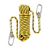Liberry Outdoor Static Rock Climbing Rope,10 mm(3/8 in) Diameter, Fire Escape Safety Rappelling Rope Outdoor Rescue Rope with Hooks: 32_ft, 64_ft, 96_ft Optional (Yellow, 64 ft)