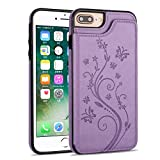 UEEBAI Case for iPhone 6 Plus, Luxury PU Leather Case [Two Magnetic Clasp] [Card Slots] Stand Function Butterfly Flower Pattern Durable Soft TPU Back Wallet Cover for iPhone 6 Plus/6S Plus - Purple