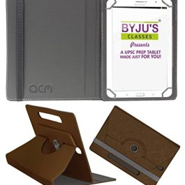 Acm Designer Rotating Leather Flip Case Compatible with Byju Learning Tab 10 Inch Cover Stand Brown