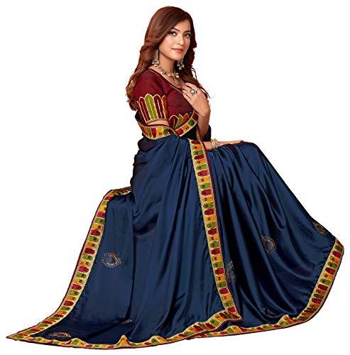 Granthva Fab Women's Silk Saree with Blouse Piece (GF-3048_Blue) TODAY OFFER ON AMAZON