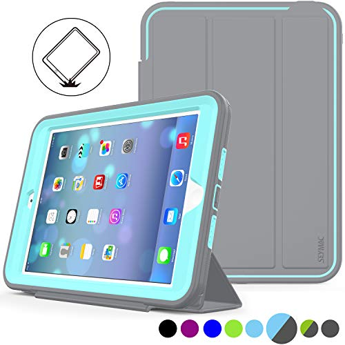 iPad Mini 1/2/ 3 Case Three Layer Heavy Duty Shock Poof Smart Cover, Auto Sleep Wake with Leather Stand Feature for iPad Mini 1/2/3 (Gray/SkyBlue)