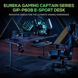 EUREKA ERGONOMIC Gaming Desk 60″ Home Office Computer Desk, New Polygon Legs Design, Captain Series (60 Inch, Black)