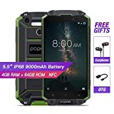 Unlocked IP68 Waterproof Mobile Phone,POPTEL P9000 MAX,4G LTE Rugged Smartphone,Fingerprint Phone,Gorilla Glass 5.5' FHD IPS Screen 9000mah 4G+64G Octa Core NFC Android cell Phones (green)