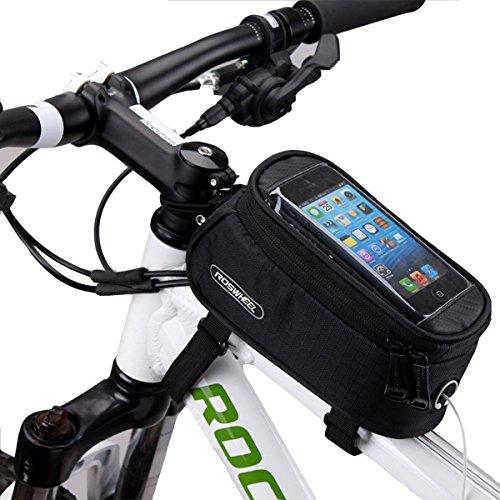 """ArcEnCiel Water Resistant Front Top Tube Pannier Bike Frame Storage Bag Mobile Phone Holder ≤ 5.7"""" Screen (Black)"""