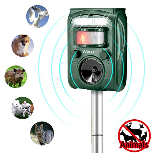 Wikoo Ultrasonic Animal & Pest Repeller,Solar Powered Outdoor Pest Repellent,Motion Activated with Solar Power and USB Charge,Very Effective for Cats,Dogs,Raccoons,Skunks, Squirrels and More