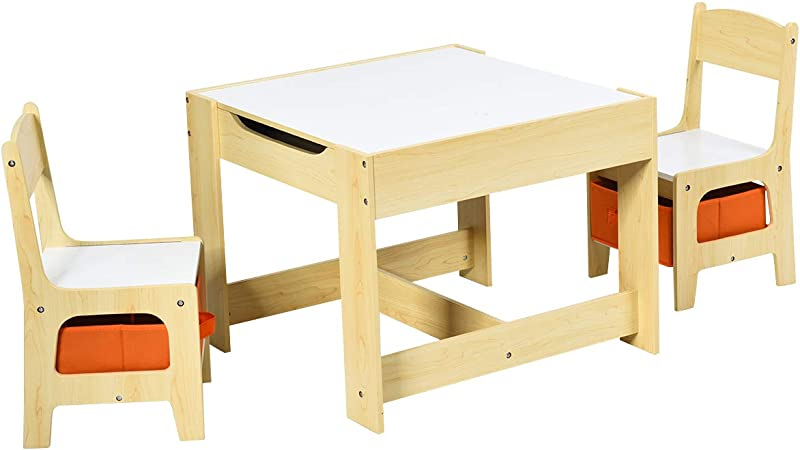Costway Kids Table Chair Set Double Side Tabletop Table And 2pcs Chairs With Storage Box Activity Desk Nursery Wooden Multifunction Furniture Amazon Co Uk Kitchen Home