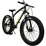 SAIGULA Fat Tire Bicycle Fat Mountain Bike 26 Inch 4.0' Tire BTM 7 Speed with Shimano for Adult (FB1 Black)