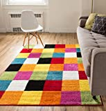 Modern Squares Multi Geometric Area Rug 8x10 ( 7'10' x 10'6' ) Abstract Checkerborad Boxes Bright Living Kid RoomPlayroom Nursery Bedroom Carpet Soft Durable Stain Fade Resistant Shed Free Easy Clean