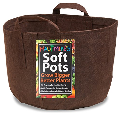 Soft POTS (25 Gallon) Best Aeration Garden Pots and Grow Bags from Maui Mike's.Made of Thicker Material with Sewn Handles for Easy Moving. Grow Healthier Tomatoes, Herbs,and Veggies. Eco Friendly.