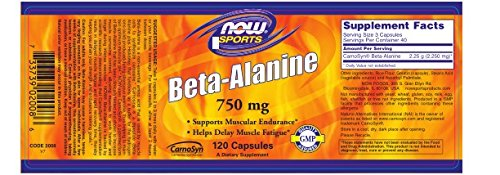NOW Beta-Alanine, 750 mg, 120 Capsules