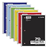 TOPS 1-Subject Notebooks, Spiral, 8' x 10-1/2', College Rule, Color Assortment May Vary, 70 Sheets, 6 Pack (65007)