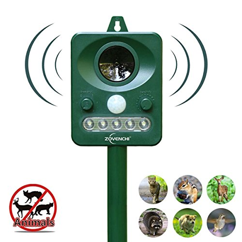 ZOVENCHI Solar Powered Ultrasonic Animal and Pests Repeller, Outdoor Weatherproof Repeller, Motion Activated with Flashing LED Light and Ultrasonic Sound (Harmless) to Repel Animal Away