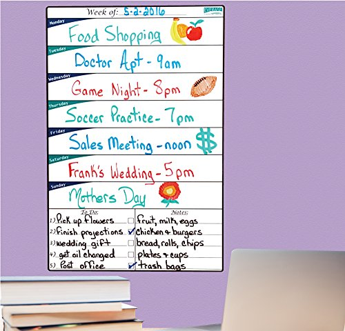 Everase Re-Stic Dry Erase Self-Adhesive Peel & Stick Weekly Planner | To Do List (12 x 18 in.) FREE Marker & Cloth | Menu/Diet/Fitness Shopping/Groceries List | Premium Quality Removable Decal
