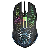 VersionTECH. RGB Gaming Mouse, Ergonomic USB Wired Optical Mouse Mice with 7 Colors LED Backlight, 4 DPI Settings Up to 2400 DPI, 6 Programmed Buttons for Laptop PC Computer Games & Work - Black