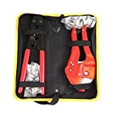 Pex Crimping Clamp Cinch Tool and Pipe Hose Cutter, Pex Crimper Pipe Fitting Tool Kit for Stainless Steel Clamps Sizes from 3/8' to 1' with 20pcs 1/2' and 10 pcs 3/4' Clamps set with Storage Bag