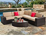 SUNCROWN Outdoor Furniture Sectional Sofa & Wedge Table (6-Piece Set) All-Weather Brown Wicker with Washable Seat Cushions & Modern Glass Coffee Table | Patio, Backyard, Pool | Incl. Waterproof Cover