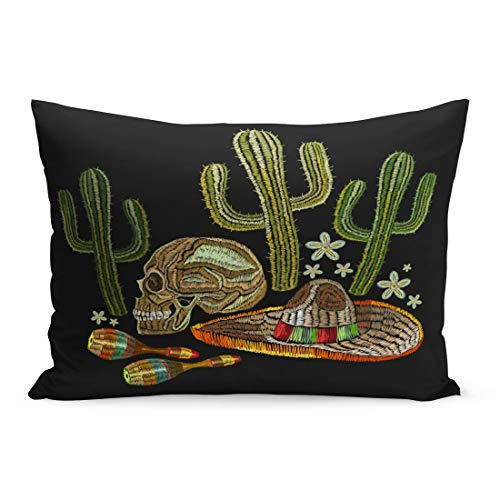Emvency Throw Pillow Covers Western Mexican Culture Human Skull Sombrero Maracas Cactus Classical Pillow Case Cushion Cover Lumbar Pillowcase Decoration for Couch Sofa Bedding Car 20 x 36 inchs