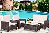 Patio Furniture Set 4 Pieces Outdoor Wicker Sofa Rattan Chair Garden Conversation Set Bistro Sets with Coffee...