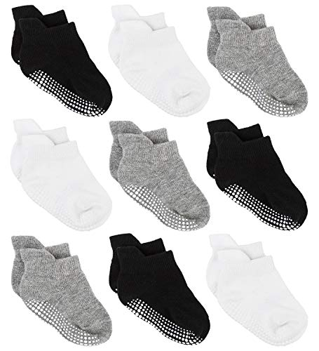 Zaples Baby Non Slip Grip Ankle Socks with Non Skid Soles for Infants Toddlers Kids Boys Girls, Assorted 9 Pack, 12-36 Months