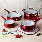 Tasty 11pc Cookware Set Non-Stick - Titanium Reinforced Ceramic , Red