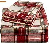 Mikash New Soft Pinzon 160 Gram Plaid Flannel Sheet Set - Twin XL, Cream/Red Plaid - FLSS-BRPL-TXL   Style 84597698