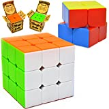 JOYIN Speed Cube 2 Pack Magic Rubix Cube 3x3 and 2x2 Rubiks Cube, Easy Turning Stickerless Anti-Pop Structure and Durable for Professional Players and Easter Basket Stuffers
