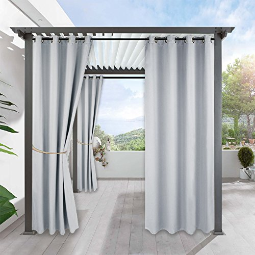 RYB HOME Patio Curtain Drape - Light Block Thermal Insulated Shade Windproof Grommet Top Blackout Curtain for Porch/Garden/Pergola, 1 Panel, Wide 52 x Long 84 inches, Grayish White