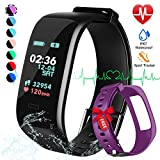 Fitness Tracker, Color Screen Activity Tracker Watch with Blood Pressure Blood Oxygen, IP67 Waterproof Smart Band with Heart Rate Sleep Monitor Calorie Counter Pedometer for Men, (Black+Purple)