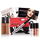 Luminess Air Red & Black Legend Airbrush System with 5-Piece Silk 4-IN-1 Deluxe Airbrush Foundation & Cosmetic Starter Kit, Tan