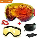Extra Mile Ski Goggles, Anti-Fog UV Protection Winter Snow Sports Snowboard Goggles with Interchangeable Spherical Dual Lens for Men Women & Youth Snowmobile Skiing Skating (Orange)