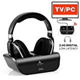 ARTISTE Wireless TV Headphones Over Ear Headsets - Digital Stereo Headsets with 2.4GHz RF Transmitter, Charging Dock, 100ft Wireless Range and Rechargeable 20 Hour Battery, Black