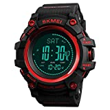 Compass Watch Army, Digital Outdoor Sports Watch for Men Women, Pedometer Altimeter Calories Barometer Temperature Waterproof (Red)