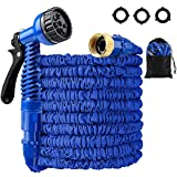 LOKMAN Expandable Garden Hose Kit, 50FT Stretchable Water Hose with Nozzle and Solid Fittings. Flexible Lightweight Maneuverable Hose for Garden Lawn Car Watering Plants. Full Set Ready (50ft)