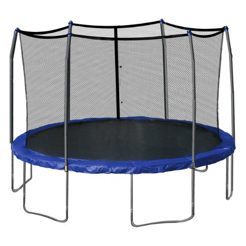 Skywalker Trampolines 15-Foot Round Trampoline and Enclosure with Spring Pad, Blue