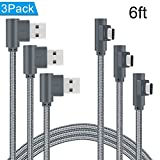 ANSEIP Right Angle Type C Cable 6ft 3 Pack 90 Degree USB C Cable Braided Fast Charge Cord & Data Sync for Samsung Galaxy S8/S8 Plus,Moto Z Z2,Nexus 6P/5X and More (Grey,6ft)