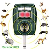 Wikomo Animal Repeller with Ultrasonic Sound Solar Powered Waterproof Outdoor Motion Sensor and Flashing Light Rabbit Repeller for Cats, Dogs, Squirrels, Moles, Martens, Possum, Hedgehog, New Version