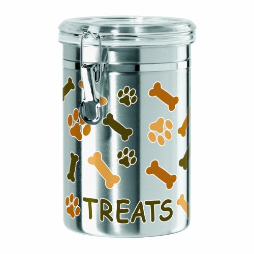 Oggi Airtight Stainless Steel 51-Ounce Pet Treat Canister with Treats, Paws and Bones Motif-Clear Acrylic Flip-Top Lid with Locking Clamp Closure 1
