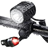 Super Bright Bike Light USB Rechargeable, Te-Rich 1200 Lumens Waterproof Road/Mountain Bicycle Headlight and LED Taillight Set with 4400 mAh Battery