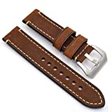 meridy Watch Bands Leather Watch Strap Fashion Men Watch Belt 20mm 22mm 24mm Leather Watch Band Watch Accessories for Traditional Watch Sports Watch Mens Watch or Smart Watch 22mm Brown