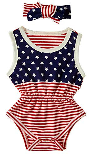 BFUSTYLE 3-6 Months Infant Baby Girl July 4th Casual Playsuit Clothing Group Baby Creeper Bodysuit with Headband,Red White Stripe Blue White Star