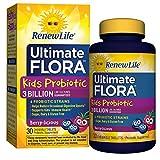 Renew Life Kids Probiotic - Ultimate Flora  Kids Probiotic, Shelf Stable Probiotic Supplement - 3 Billion - Berry Flavor, 30 Chewable Tablets (Packaging May Vary)