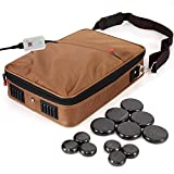 Portable Massage Stone Warmer Set - Electric Spa Hot Stones Massager and Heater Kit with 6 Large and 6 Small Round Shaped Basalt Massaging Rocks, Digital Controller Heating Bag - SereneLife PSLMSGST40