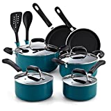 Cook N Home 02588 12-Piece Stay Cool Handle, Turquoise Nonstick Cookware Set,