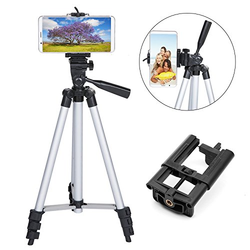 50 inch Phone Tripod, Lightweight Aluminum iPhone Tripod Universal Tripod Phone Mount Carrying Bag